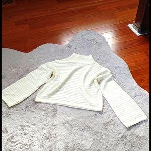 SHEIN Bell Sleeve Knit Crew Neck Sweater Cream S